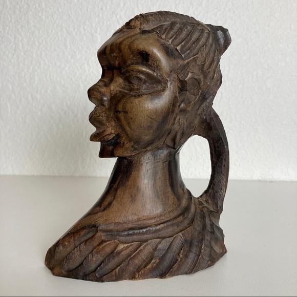 Vintage Hand Carved Wood African Bust